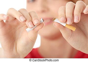 mulher, fumar, jovem, caucasiano, quiting