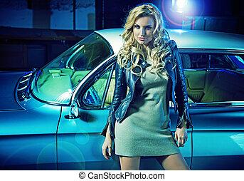 mulher, fundo, car, elegante, retro, loura