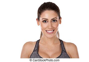 mulher, fundo, condicão física, branca