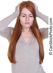 mulher, fundo, jovem, isolado, segurando, branca, cabeça, dor de cabeça