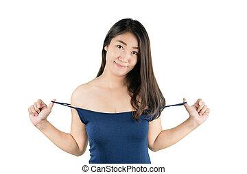 mulher, fundo, sorrizo, excitado, tu, asiático, path., beleza, skincare, branca, cortando