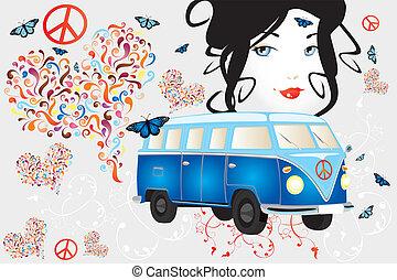 mulher, furgão, paz, -, retro, amor