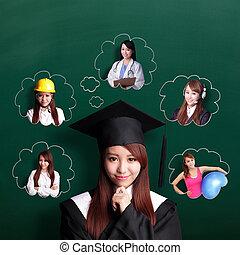 mulher, futuro, pensar, estudante, graduado