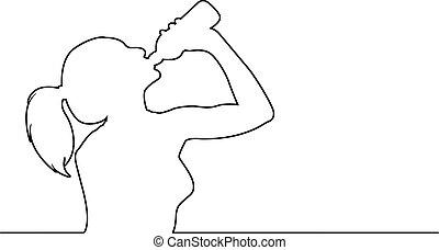 mulher, garrafa, jovem, isolado, ilustração, plástico, água, linhas, vetorial, experiência preta, bebendo, desporto, branca