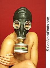 mulher, gasmask, -, frau, gasmaske, mit