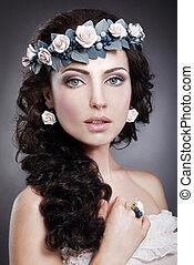 mulher, genuíno, grinalda, nymph., deslumbrante, retrato, flores