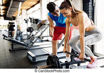 mulher, ginásio, costas, músculos, exercícios, atrractive