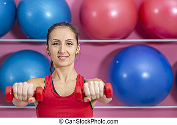 mulher, ginásio
