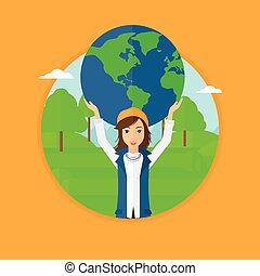 mulher, globe., segurando