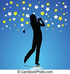 mulher, golfe, ilustração