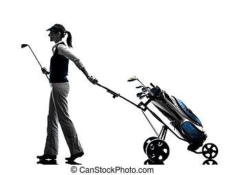 mulher, golfer, golfing, silueta