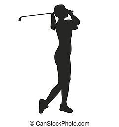 mulher, golfer, silueta