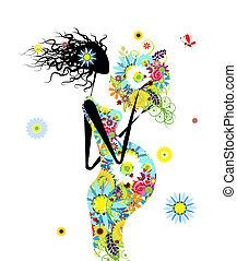 mulher grávida, com, buquê floral, para, seu, desenho