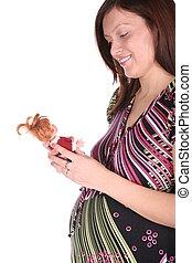 mulher grávida, com, fantoche