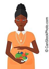 mulher grávida, com, vegetables.