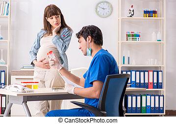 mulher, grávida, doutor, exame, visitando