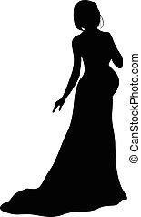 mulher grávida, em, vestido