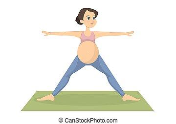 mulher grávida, exercising.