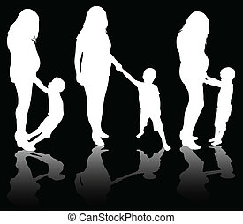 mulher, grávida, filho