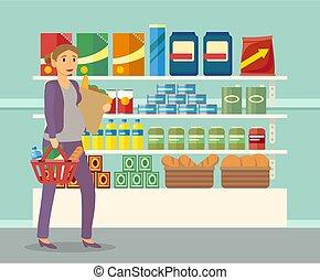 mulher grávida, mantimentos, loja comida, comprando