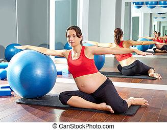 mulher grávida, pilates, sereia, fitball, exercício