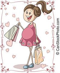mulher, grávida, sacolas, shopping