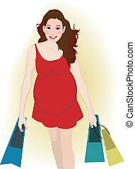 mulher grávida, shopping