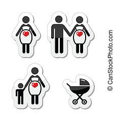 mulher grávida, vetorial, ícones, jogo