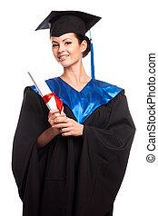 mulher, graduado, vestido, desgastar, jovem, fundo, isolado, retrato, boné, diploma, faculdade, branca