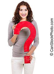 mulher, grande, pergunta, jovem, marca, segurando