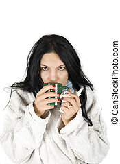 mulher, gripe, tendo