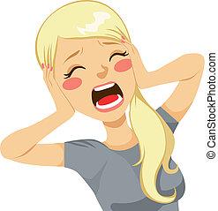 mulher, gritando, chocado