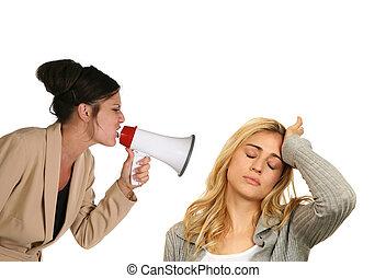 mulher, gritando, em, anoher, femininas, branco, fundo