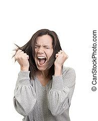 mulher, gritos, e, puxa, dela, cabelo, em, frustração