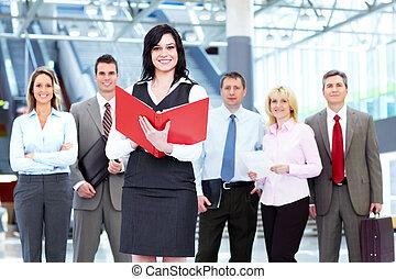 mulher, group., pessoas negócio
