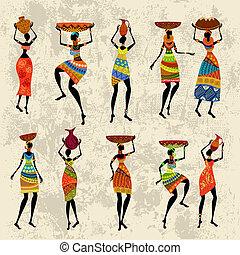 mulher, grunge, fundo, africano