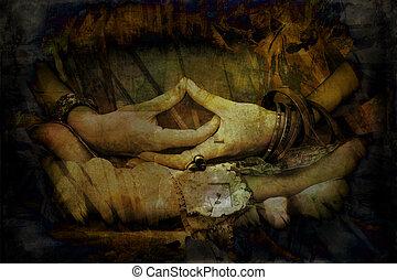 mulher, grunge, mudra, simbólico, textura, mãos, meditação, gesto