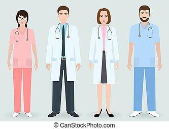 mulher, grupo, doutores hospital, homem, enfermeira, orderly., concept., equipe funcionários médica