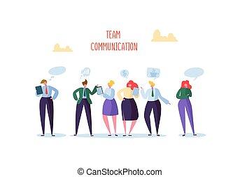 mulher, grupo, escritório negócio, pessoas, comunicação, concept., equipe, chatting., ilustração, vetorial, caráteres, social, conversa., marketing, homem