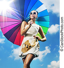 mulher, guarda-chuva, coloridos, na moda, foto, jovem