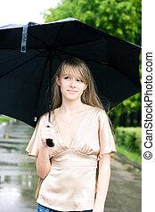 mulher, guarda-chuva, jovem