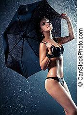 mulher, guarda-chuva, jovem, chuva, sob