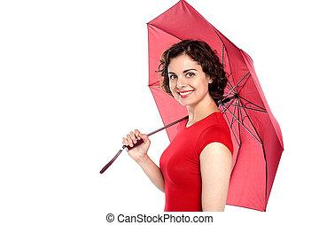 mulher, guarda-chuva, jovem, segurando, atraente