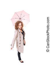 mulher, guarda-chuva, segurando