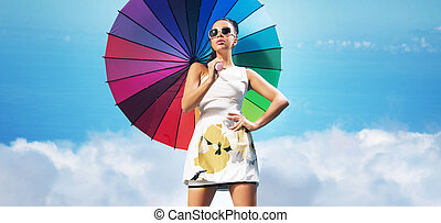mulher, guarda-chuva, sensual, coloridos