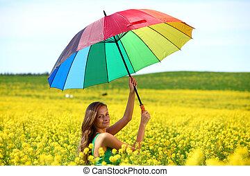 mulher, guarda-chuva, sob