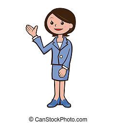 mulher, guia, ilustração