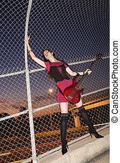 mulher, guitar.
