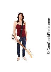 mulher, guitar., segurando, dela