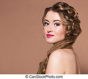 mulher, hairdress, jovem, loura, longo, bonito